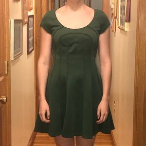Kelly green dress with decorative piping